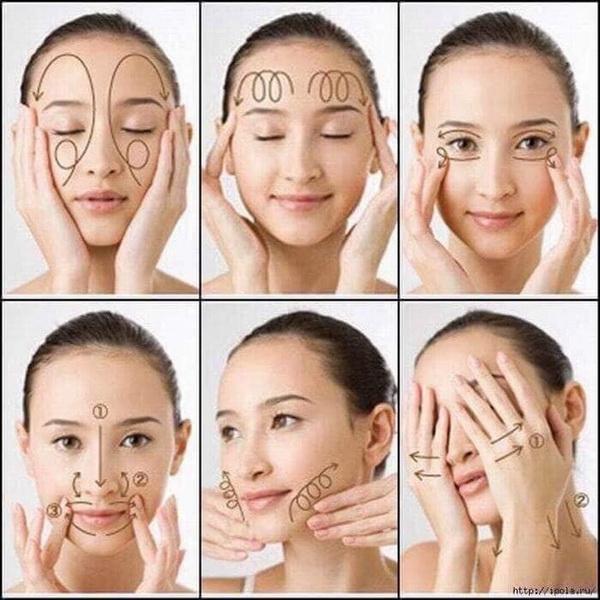 Xoa bóp vùng mặt tăng cường độ ẩm cho da